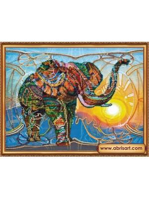 Набор для вышивки бисером на холсте Мозаичный слон AB-368
