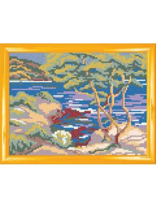 Каменистое морское побережье (канва с рисунком)