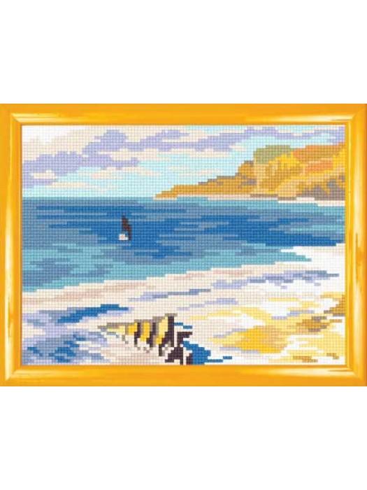Пляж в Этрете К. Моне (канва с рисунком)