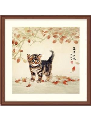Котик и листья