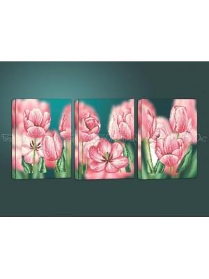 Розовые тюльпаны триптих