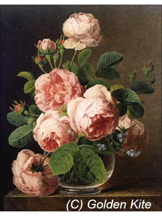 Розы в стеклянной вазе 1105 Голден Кайт