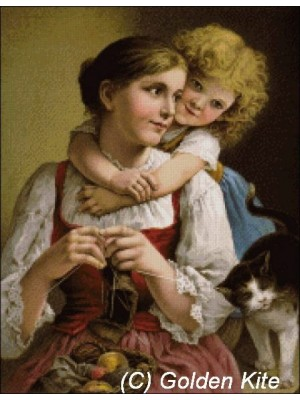 Девушка за вязанием 602 Голден Кайт