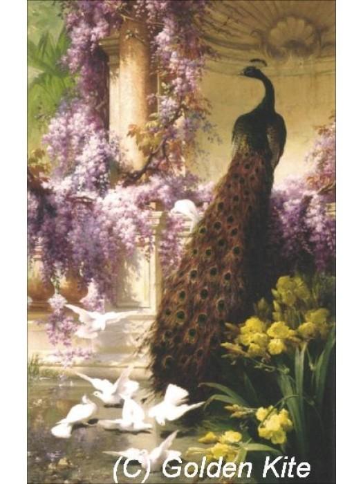 Павлин и голуби в саду 971 Голден Кайт