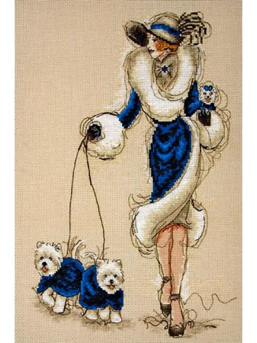 Набор для вышивания Дама с собачками в синем